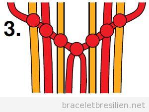 Tutoriel pas à pas, bracelet brésilien à chevron 3