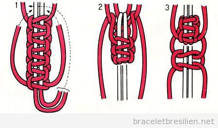 Noeud bracelets br siliens tutoriel pas pas pour fabriquer des bracelet - Comment faire du macrame ...