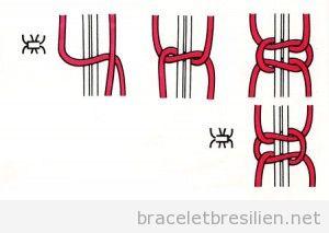 Comment réaliser un noeud plat pas à pas, bracelet brésilien 1