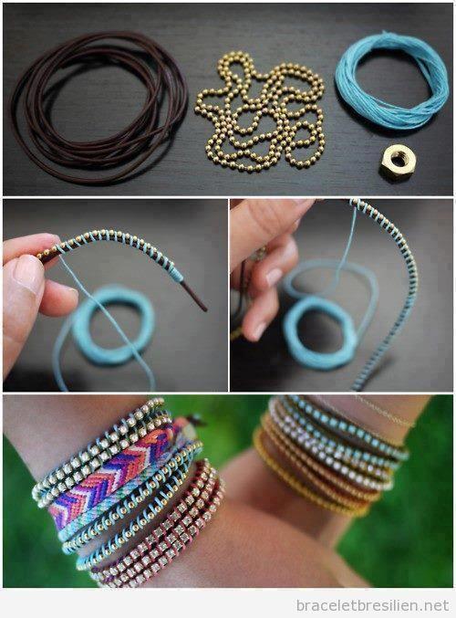 tuto bracelet cuir perle bijoux la mode. Black Bedroom Furniture Sets. Home Design Ideas