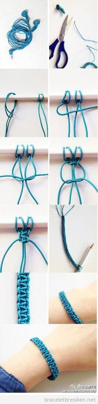 Tutoriel, bracelet DIY realisé avec câbles de casquets, recyclage