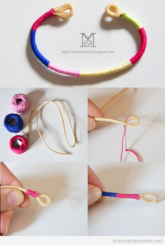 Tutoriel pas à pas, bracelet de corde et fils, pas a pas, simple