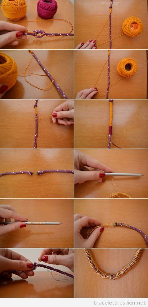 tutoriel bracelet pas à pas, réalisé avec cordes, fils et fils de fer