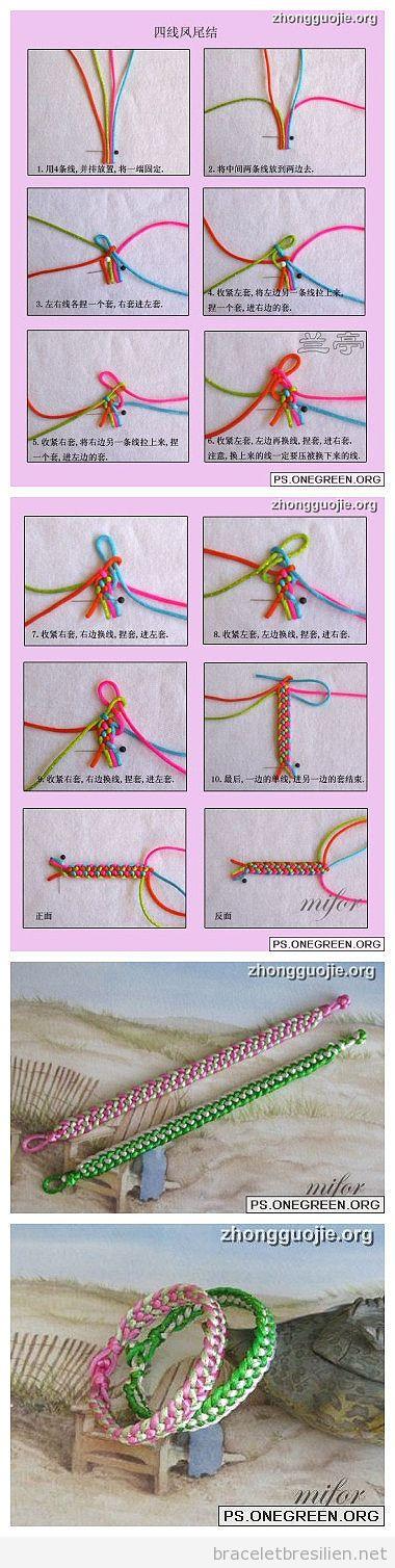Tuto, bracelet realisé avec fil queue de rat et noeuds, pas à pas