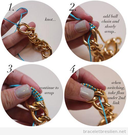 Tuto, bracelet DIY avec des chaines et fils