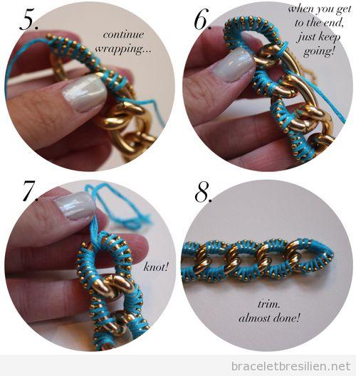 Tuto pas à pas, bracelet DIY avec des chaines et fils
