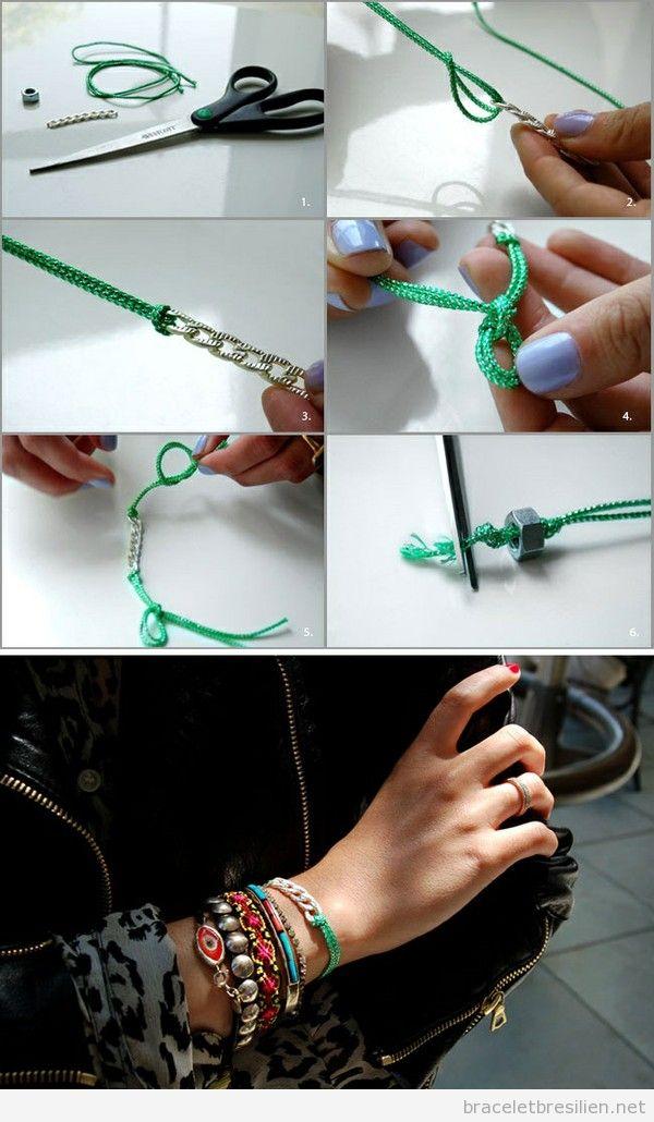 Bracelet réalisé avec cordes et chaines, tutoriel pas à pas