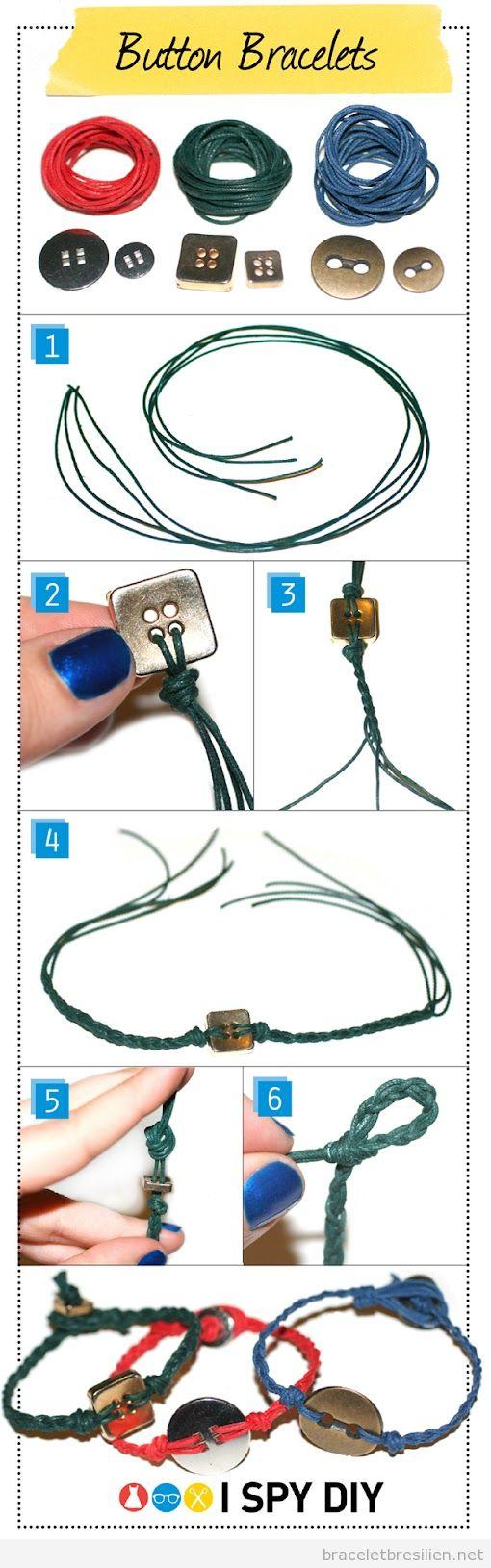 Tutoriel pour réaliser un bracelet en fil de cuir et bouton