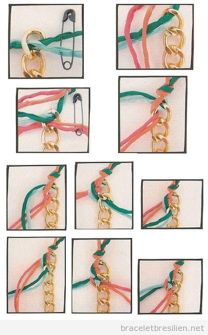 Bracelet DIy pas à pas, chaine et fil tressé