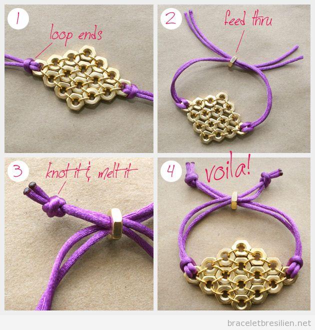 Tutoriel pas à pas, bracelet DIY fil queue de rat et écrous 2