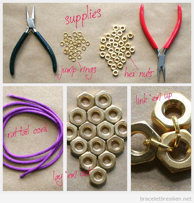 Tutoriel pas à pas, bracelet DIY fil queue de rat et écrous 1