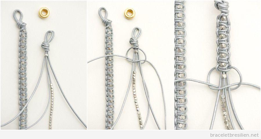 Bracelet fil de cuir et perles tr s simple tuto pas - Comment faire un scoubidou facile ...