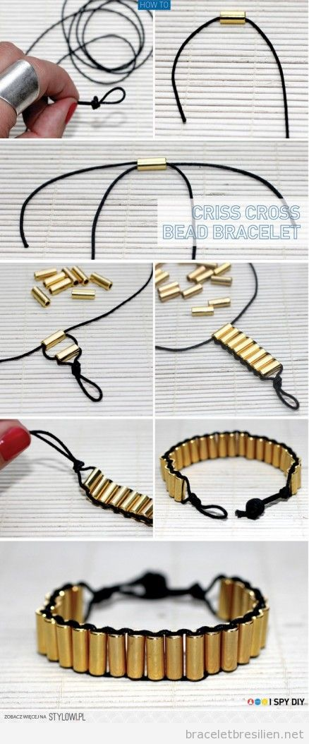 Tuto, bracelet DIY fil et perles cylindriques