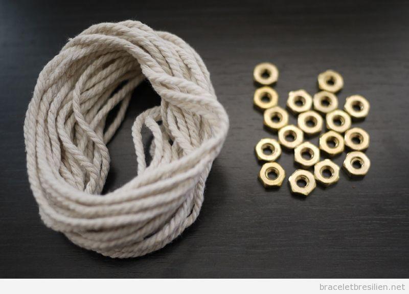 Tutoriel Bracelet cordes et écrous, pas à pas 1