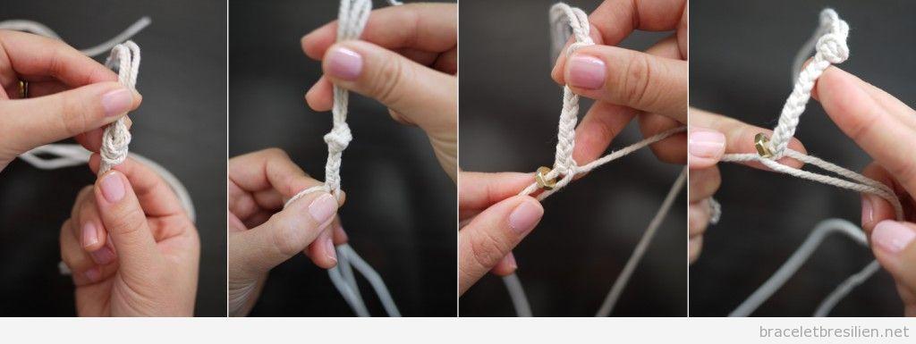 Tutoriel Bracelet cordes et écrous, pas à pas 2