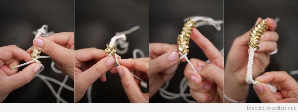 Tutoriel Bracelet cordes et écrous, pas à pas 4