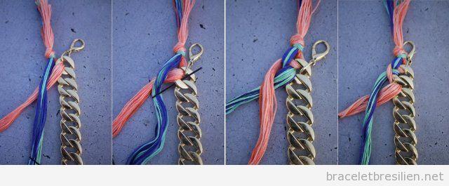 Tuto pour réaliser un bracelet de chaine et fil tressé, pas 4