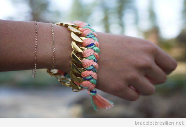 Tuto pour réaliser un bracelet de chaine et fil tressé, pas 1