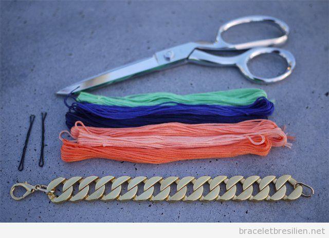 Tuto pour réaliser un bracelet de chaine et fil tressé, pas 2