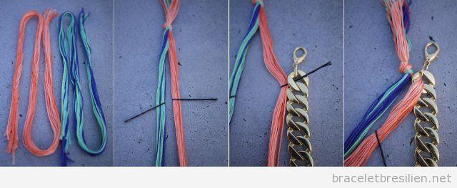 Tuto pour réaliser un bracelet de chaine et fil tressé, pas 3