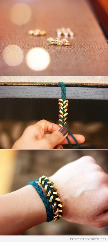 Tuto bracelet DIy en suedine tressé et écrous