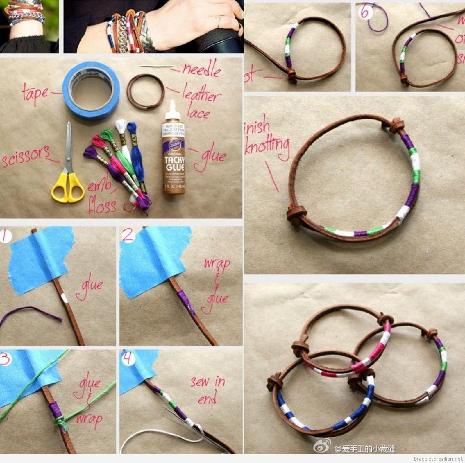 Tutoriel pas à pas, bracelet DIY cuir et fils