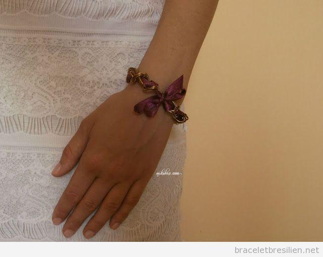 Bracelet DIY tuto pas à pas, chaines et ruban de satin