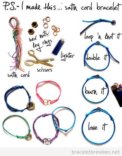 Tuto pas à pas, bracelet fil queue de rat et anneaux ou écrous