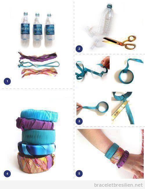 bracelet fabriqu avec bouteilles en plastique et tissus tuto pas pas bracelets br siliens. Black Bedroom Furniture Sets. Home Design Ideas