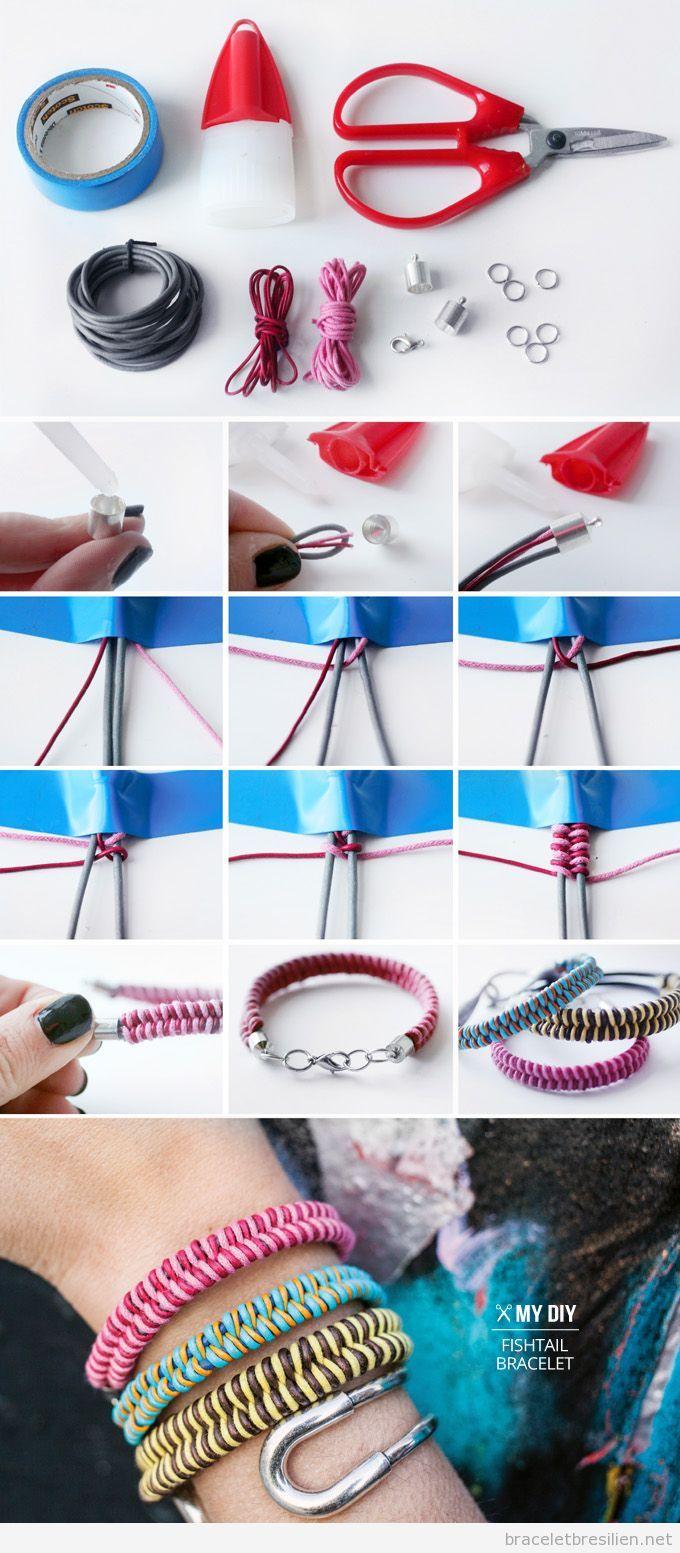Tuto pas à pas, bracelet DIy fil queue de rat, modèle queue de poisson