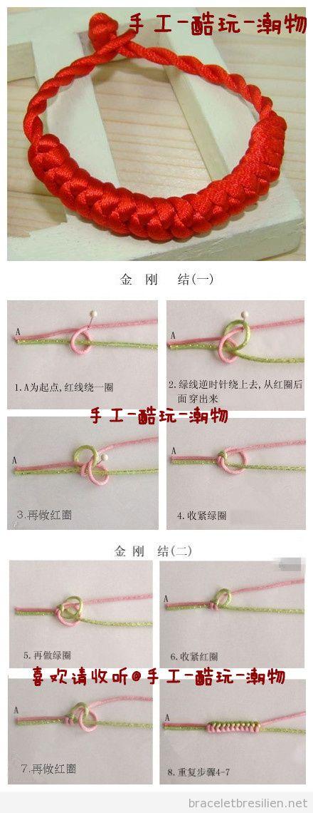 Tutoriel pour apprendre pas à pas comment fabriquer un bracelet de noeuds de la sort, pas à pas