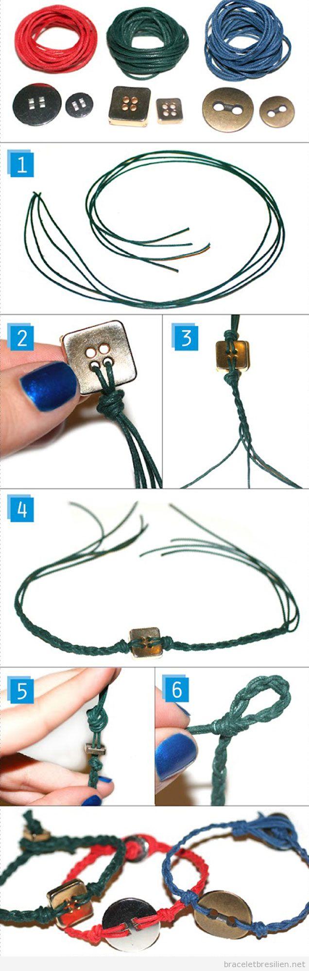 Tuto bracelet DIY, fil en cuir et boutons