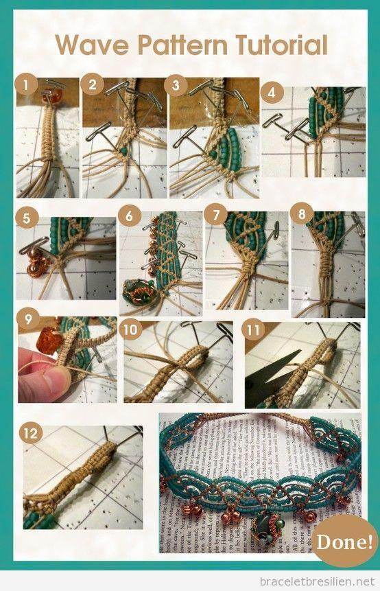 Tuto, bracelet cordes et perles en vagues