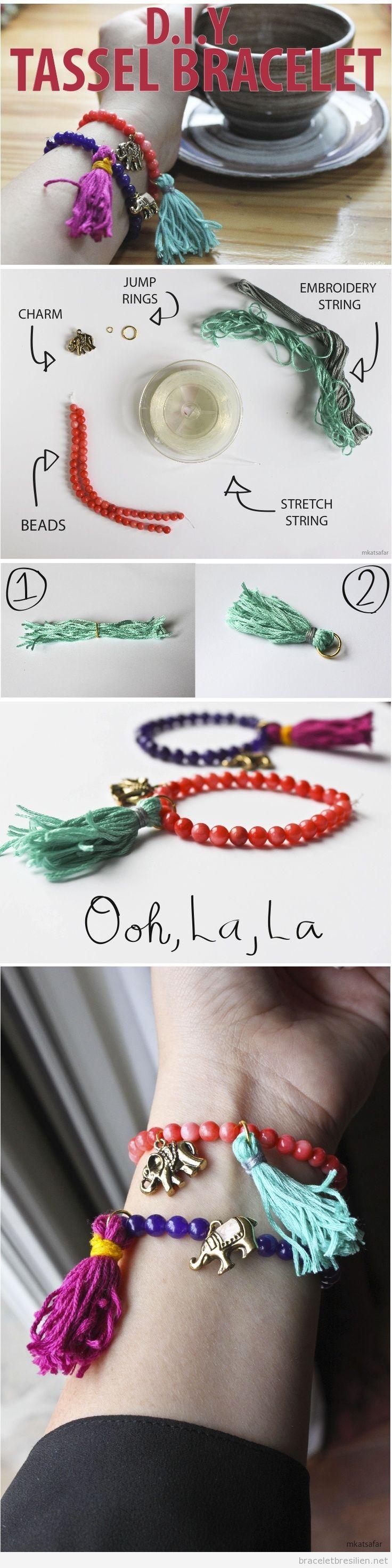 Bracelet DIY réalisé avec des perles et pompons de fils, tuto