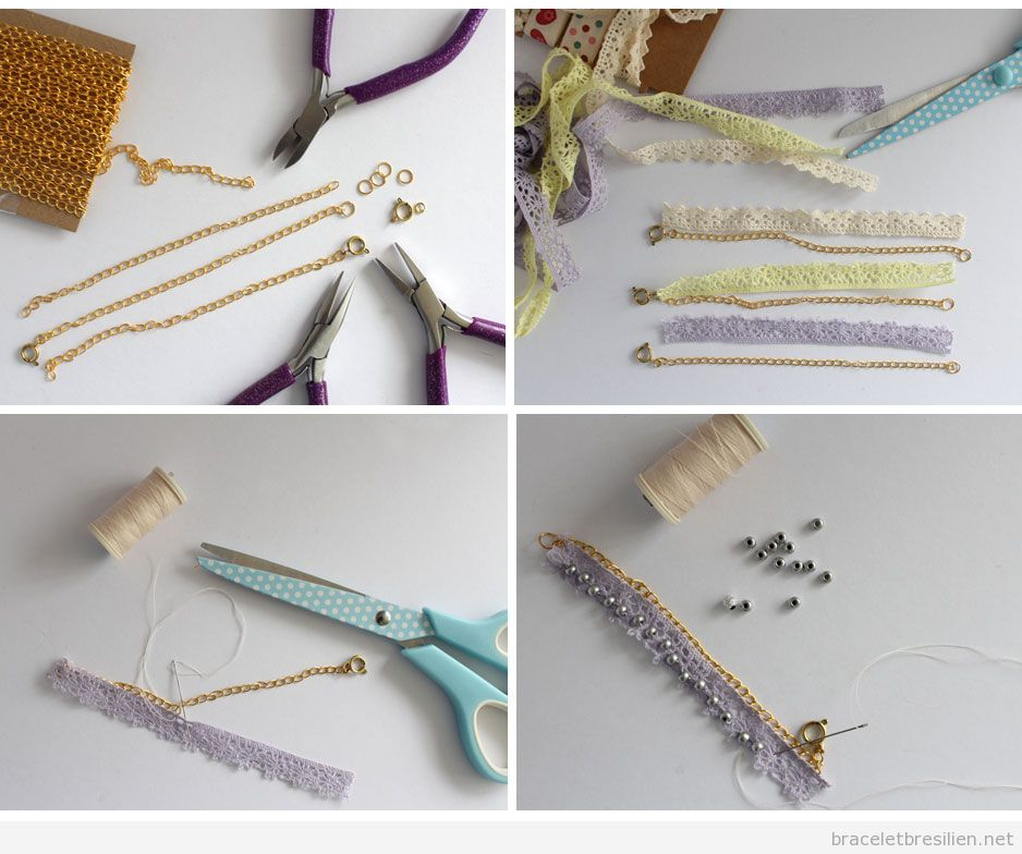 Tuto bracete DIY Simple, chaines dentelle et perles