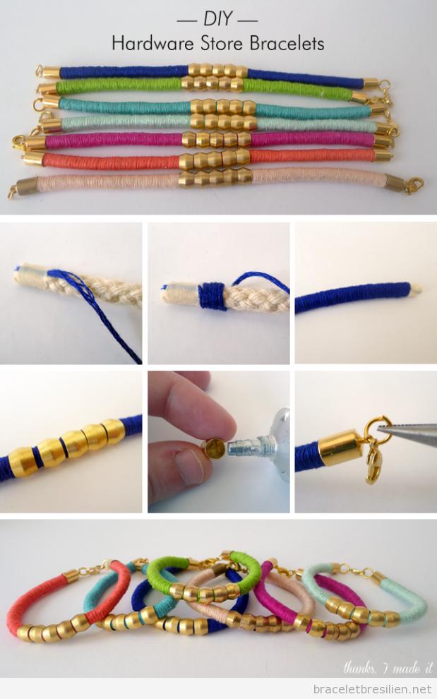 Tuto bracelet fils DIY quincaillerie