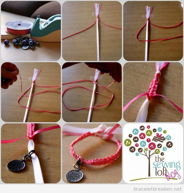 Tuto bracelet noeuds réalisé avec fil queue rat