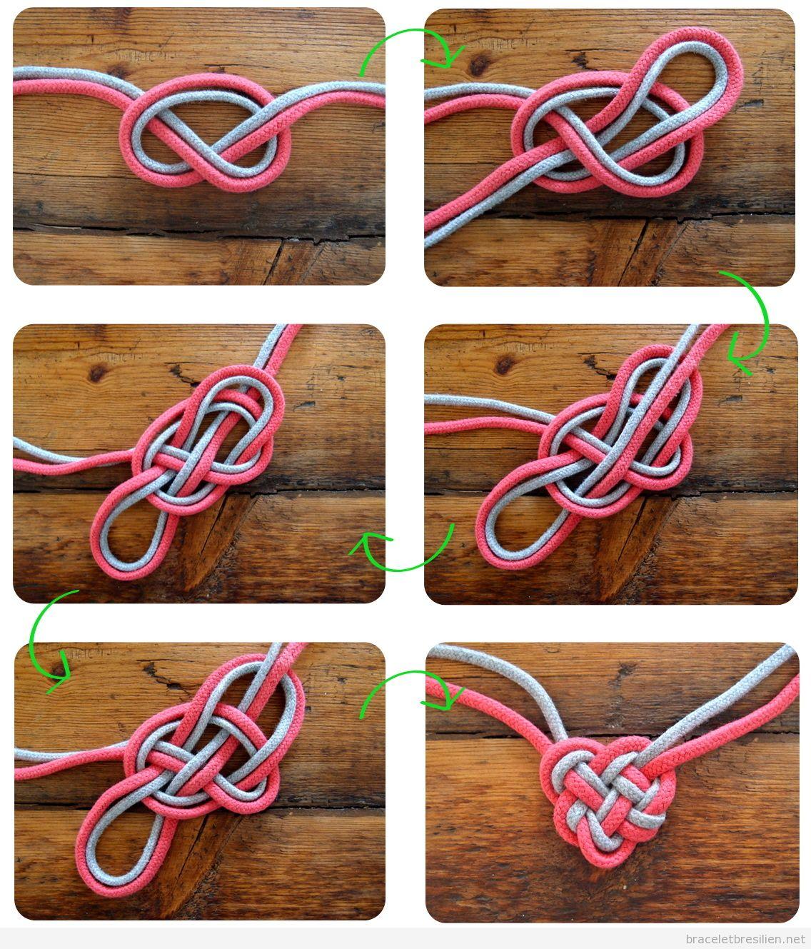 Bracelet ou collier coeur celtique fabriqué en cordes, tutoriel