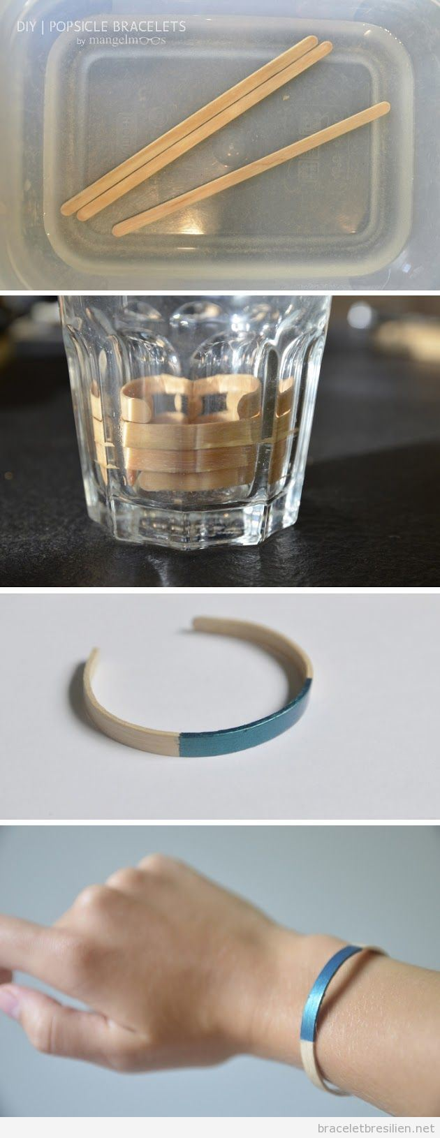 Bracelet fabriqué avec un bâtonnet de glace forme courbe