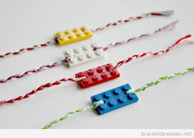 Bracelet DIY fabriqué avec des fils et pièce Lego