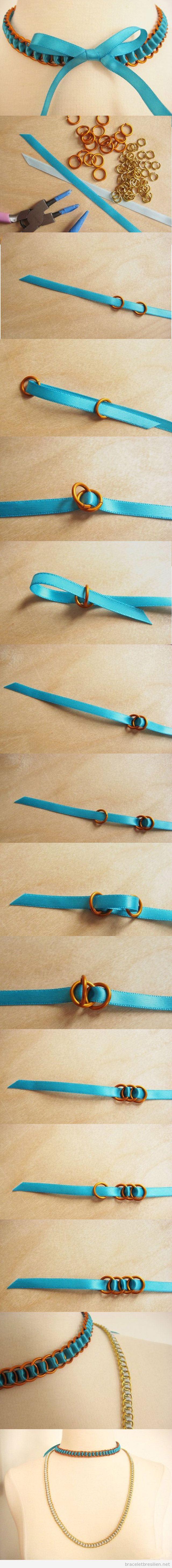 Tuto collier et bracelet DIY simple, ruban satin et anneaux