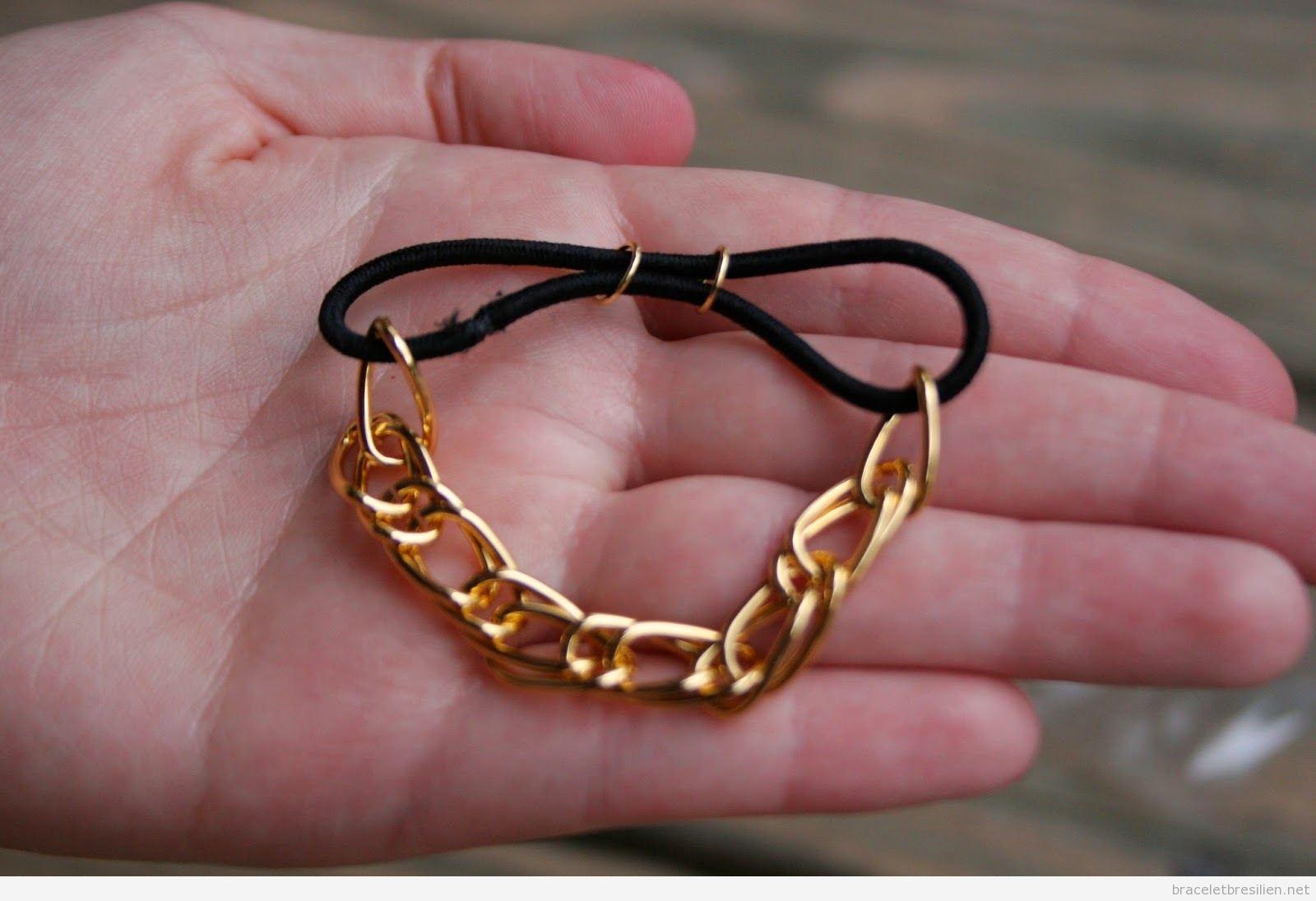 Bracelet DIY simple élastique à cheveux et chaine