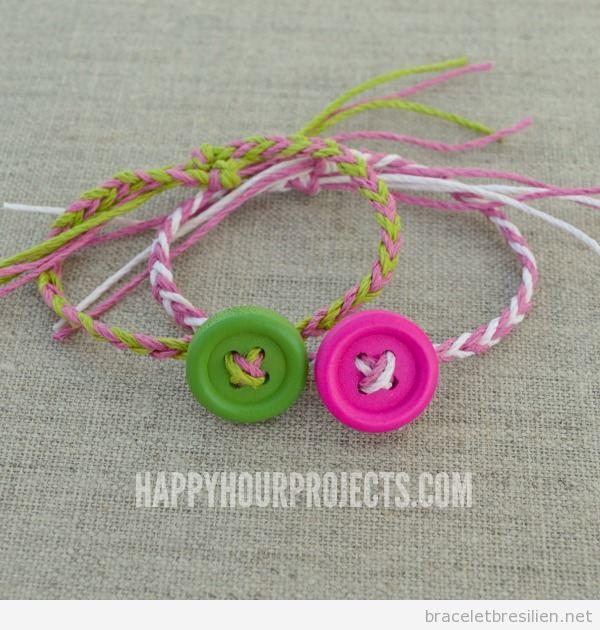 Tuto bracelet fil chanvre et bouton