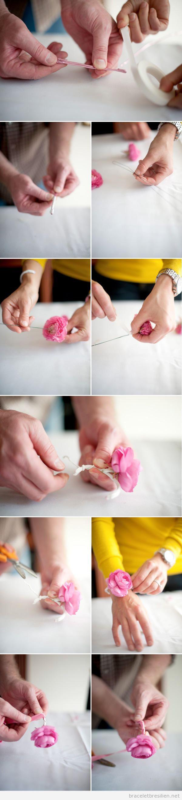 Tuto bracelet DIY réalisé en fleurs et fil de fer