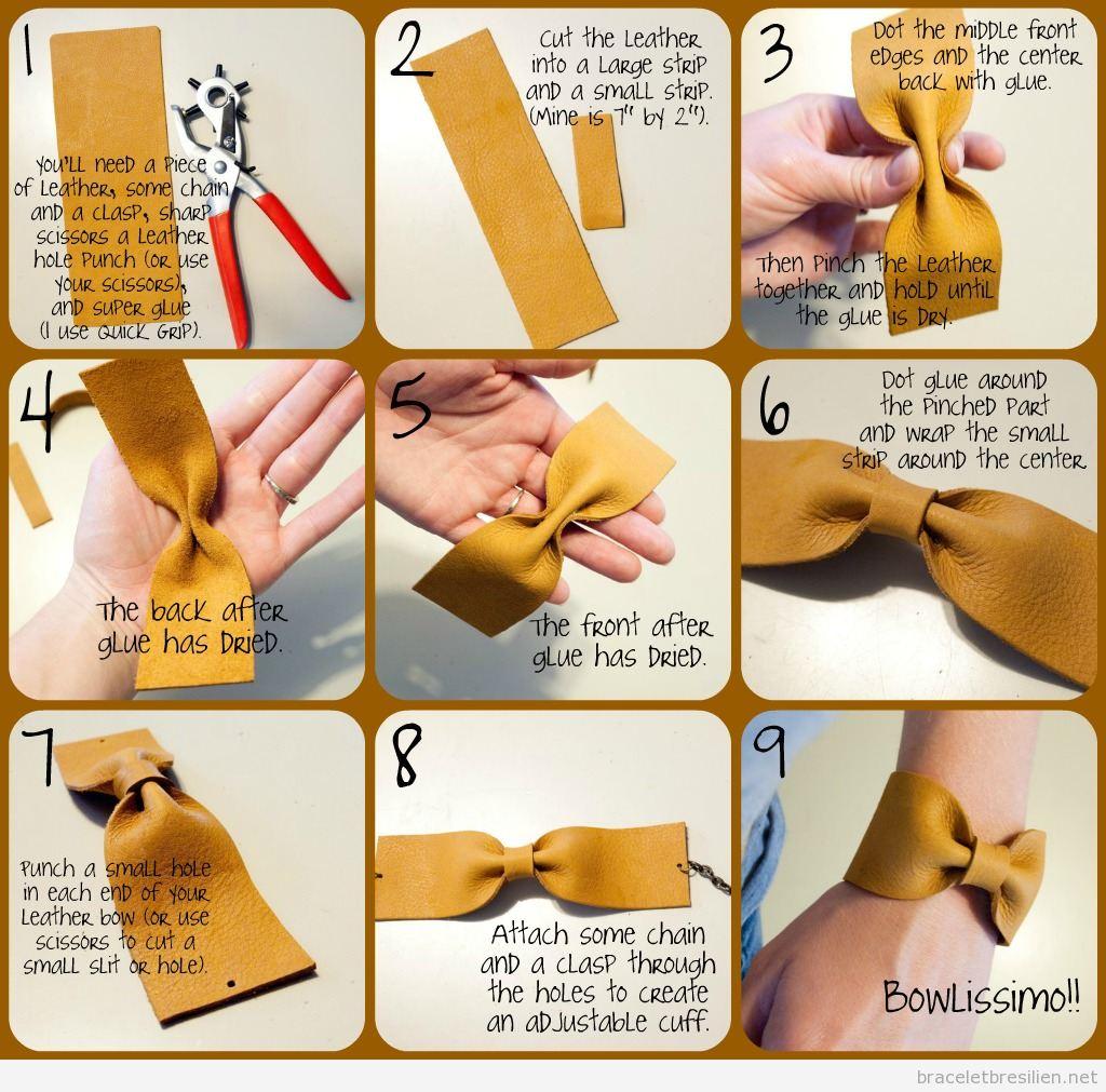 Tuto Bracelet en cuir DIY noeud