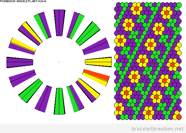 Schème bracelet kumihimo, motif fleurs
