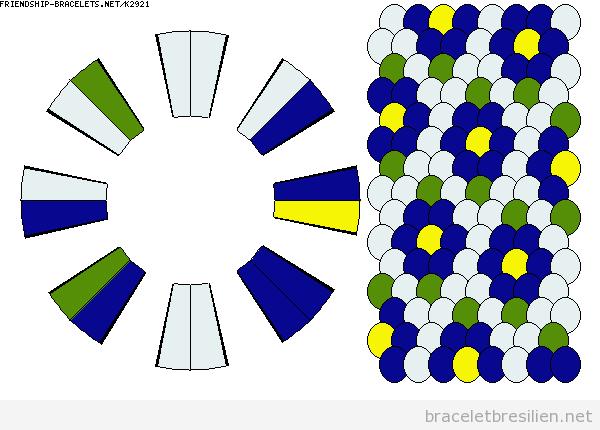 Schème bracelet kumihimo, motif fleurs 3