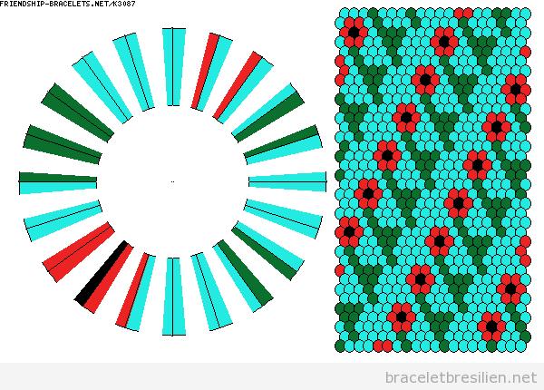 Schème bracelet kumihimo, motif fleurs 2