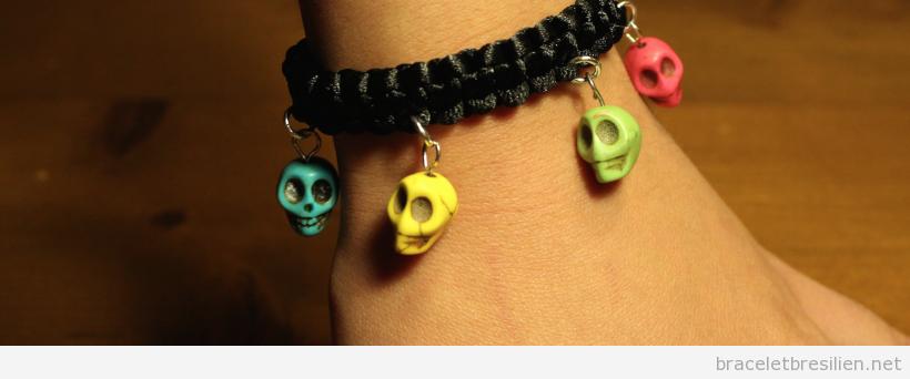 Tutoriel bracelet noeud carré et tête de mort, pas 6