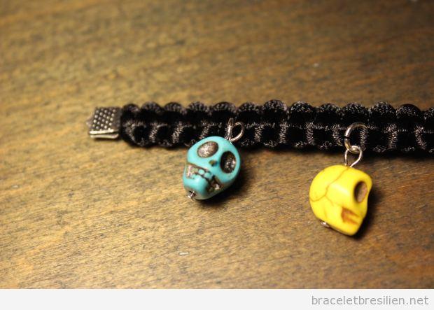 Tutoriel bracelet noeud carré et tête de mort, pas